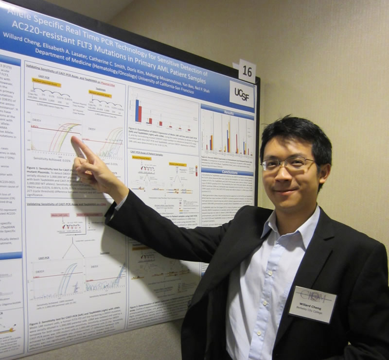 BCC CIRM intern Willard Cheng points to his poster on PCR technology findings at the CIRM Bridges Trainee Meeting, UCSF, 2012
