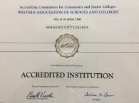 Berkeley City College Accreditation Certificate