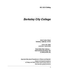 Berkeley City College Catalog 2011-2013