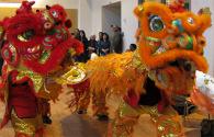 Lion Dance Team in Full Costume Dancing