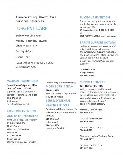 Urgent Care flyer
